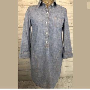 Lands end Canvas dress blue jean denim size 0